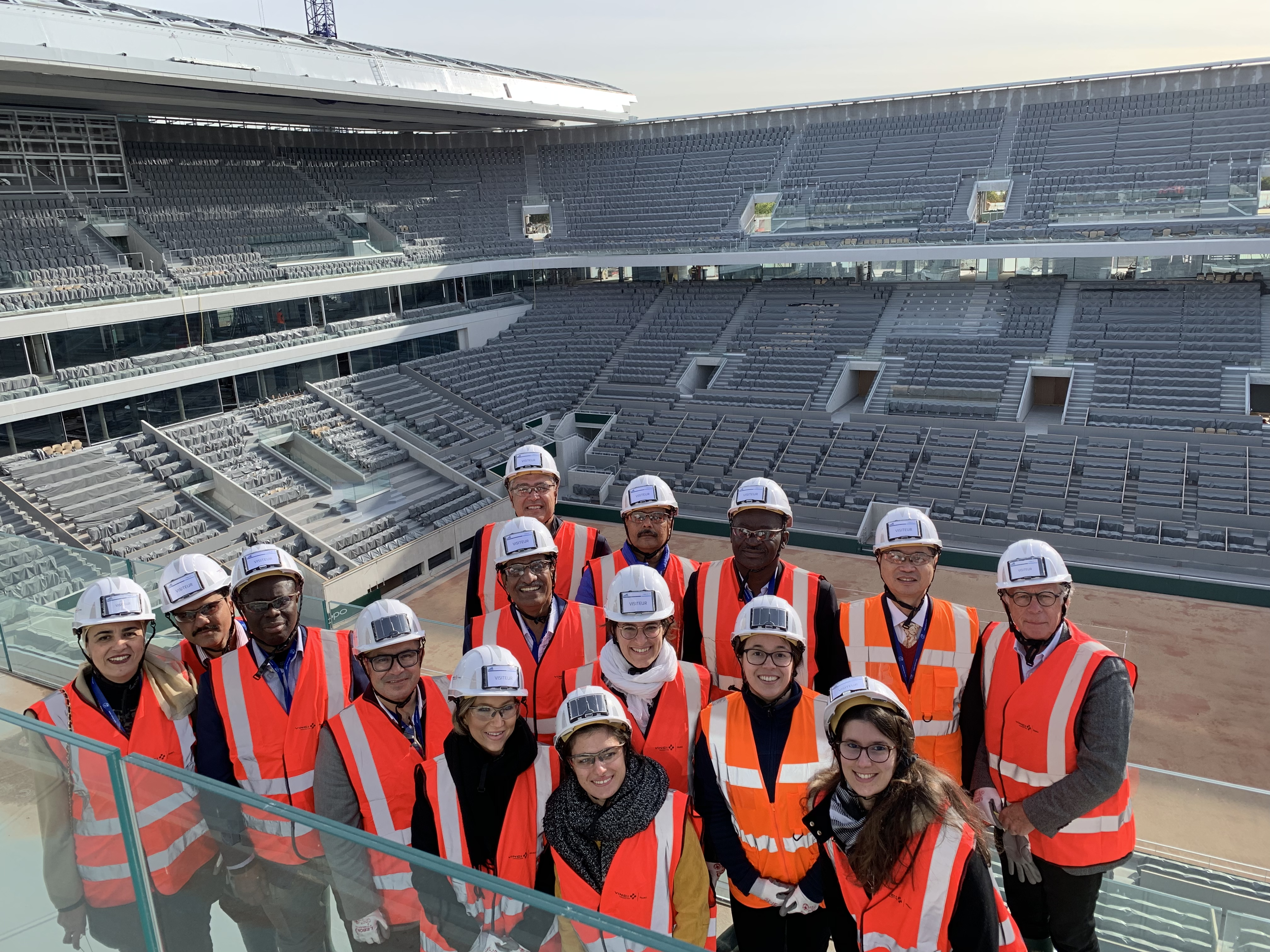 "international delegation visiting Vinci Construction site in Rolland Garros during ""n+i"" Rendez-vous Tour : Discover French Technology Know How"